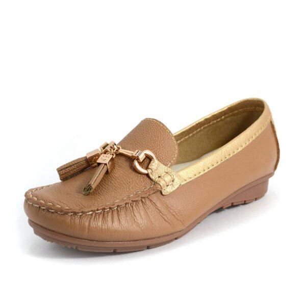 Mocasin en cuero zapato mujer dama